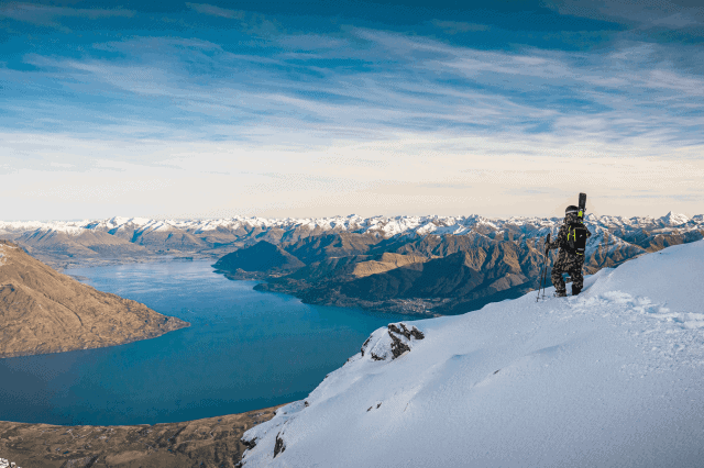 Lake Wakatipu can be seen from certain pistes